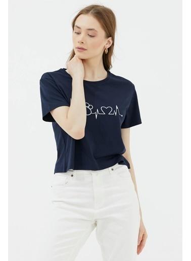 Sementa Oversize Basic Baskılı Kısa Tshirt - Lacivert Lacivert